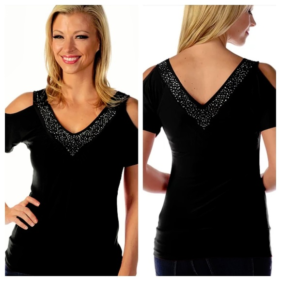 Liberty Wear Tops - 2X Rhinestone Black Dressy Top